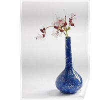 Blue vase with geraniums Poster