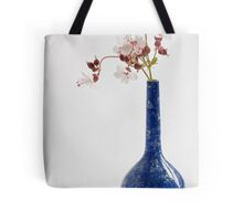 Blue vase with geraniums Tote Bag