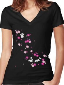 Japanese Bunny - Pink Women's Fitted V-Neck T-Shirt