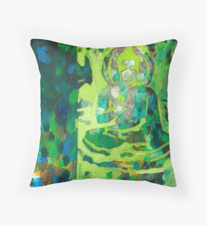 Meditating Buddha contemporary spiritual abstract Throw Pillow