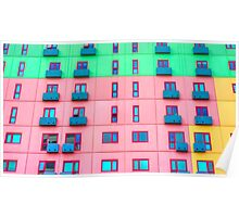 Colourfully Painted Exterior Apartment Building Wall - Melbourne, Victoria Poster