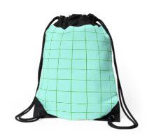 Grid Apple/Teal Drawstring Bag
