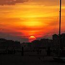 Sunset Over Brighton Beach by Laura Cooper