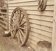 Weathered Wagon Wheel by Gabi Cumming