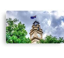 The Clock Tower and Australian Flag at the Historic Town Hall - Bendigo, Victoria Canvas Print