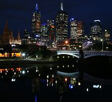 Melbourne city skyline at night by Sangeeta