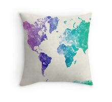World map in watercolor multicolored Throw Pillow
