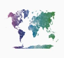 World map in watercolor multicolored Baby Tee
