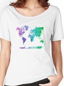 World map in watercolor multicolored Women's Relaxed Fit T-Shirt