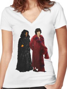 Doctor Who - Fourth Doctor and The Master Women's Fitted V-Neck T-Shirt