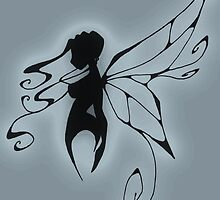 a fairy silhouette blue by GothicMoonlight
