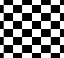 Black White Checker Design Bedspread - Mini Chess Sticker by deanworld
