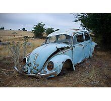 Old Volkswagon car on farm Photographic Print