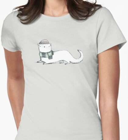 Ermine in Hat & Scarf Womens Fitted T-Shirt