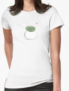 Succulent in Plump White Planter Womens Fitted T-Shirt
