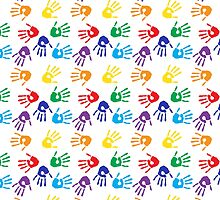 Seamless Pattern of Hand Prints in Rainbow Colors on White Background. by SunshineArt