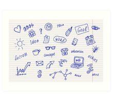 Collection of business, doodle sketch objects and elements.  Art Print