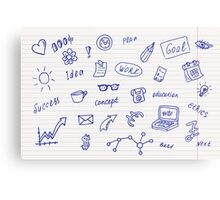 Collection of business, doodle sketch objects and elements.  Metal Print
