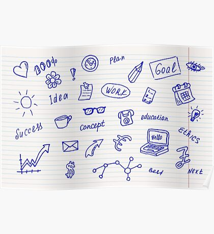 Collection of business, doodle sketch objects and elements.  Poster
