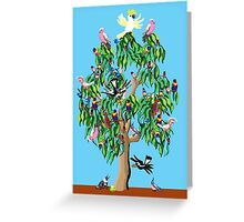 3 magpies, 2 crimson rosellas, and a cockatoo up a gum tree Greeting Card