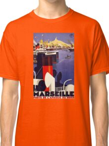Marseille Vintage Travel Poster Restored Classic T-Shirt