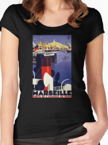 Marseille Vintage Travel Poster Restored Women's Fitted Scoop T-Shirt