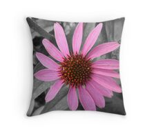 Pink Dog Daisy Wildflower Throw Pillow