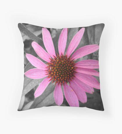 Pink Dog Daisy Wildflower Throw Pillow