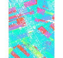 rectangles pattern - grunge - light blue Photographic Print