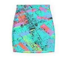 rectangles pattern - grunge - light blue Mini Skirt