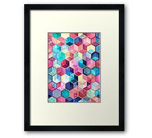 Topaz & Ruby Crystal Honeycomb Cubes Framed Print