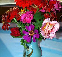 Flowers in a blue vase by ♥⊱ B. Randi Bailey