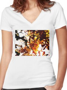 AUTUMN TREES Women's Fitted V-Neck T-Shirt