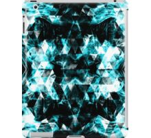 Electrifying blue sparkly triangle flames iPad Case/Skin