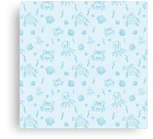 Seamless pattern with hand drawn sea life. Canvas Print