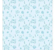 Seamless pattern with hand drawn sea life. Photographic Print