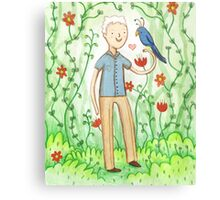 Sir David Attenborough & a Parrot Canvas Print