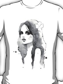 Romantic girl. Watercolor painting. Black and white T-Shirt
