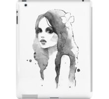 Romantic girl. Watercolor painting. Black and white iPad Case/Skin