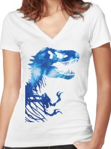 Tie-Dye Rex Women's Fitted V-Neck T-Shirt