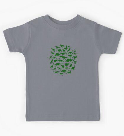 DINOSAURS - dark green Kids Tee