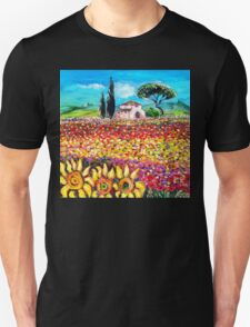 FLORA IN TUSCANY/ Fields ,Poppies and Sunflowers T-Shirt