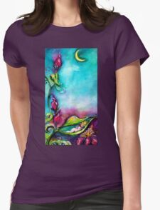 THUMBELINA SLEEPING BETWEEN ROSE LEAVES Womens Fitted T-Shirt