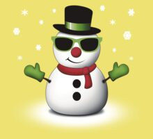 Cool Snowman with Shades and Adorable Smirk One Piece - Short Sleeve
