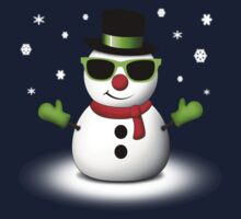 Cool Snowman with Shades and Adorable Smirk Kids Tee
