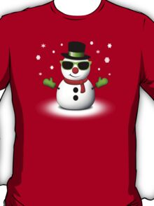Cool Snowman with Shades and Adorable Smirk T-Shirt