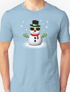 Cool Snowman with Shades and Adorable Smirk Unisex T-Shirt