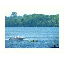 Kayaking along the Maine coast Art Print