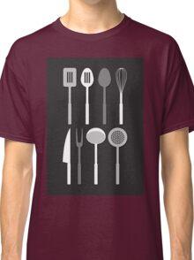 Kitchen Utensil Silhouettes Monochrome Classic T-Shirt