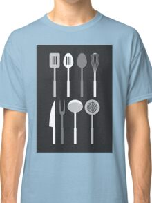Kitchen Utensil Silhouettes Monochrome Classic T-Shirt